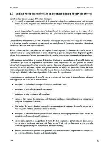 Prise de position - Urbanisme du contrôle interne page 14