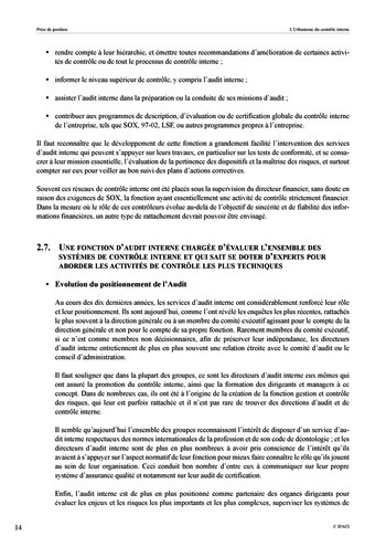 Prise de position - Urbanisme du contrôle interne page 15