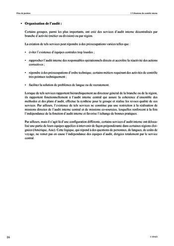 Prise de position - Urbanisme du contrôle interne page 17