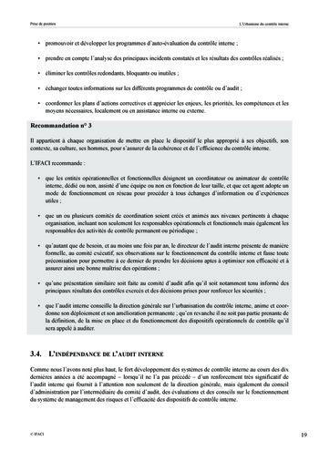 Prise de position - Urbanisme du contrôle interne page 20