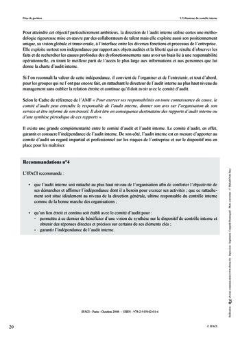 Prise de position - Urbanisme du contrôle interne page 21