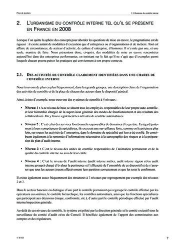 Prise de position - Urbanisme du contrôle interne page 8