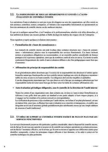 Prise de position - Urbanisme du contrôle interne page 9