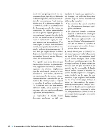 Panorama de l'audit interne dans les établissements financiers page 10
