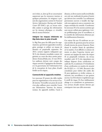 Panorama de l'audit interne dans les établissements financiers page 16