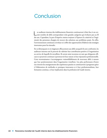 Panorama de l'audit interne dans les établissements financiers page 22