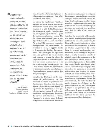 Panorama de l'audit interne dans les établissements financiers page 8