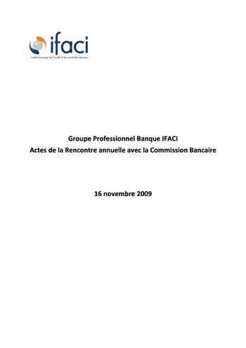 Commission Bancaire IFACI 2009 - Actes page 1