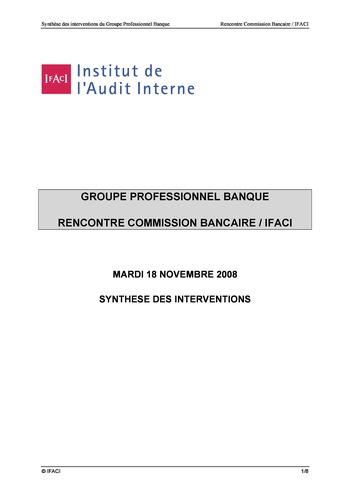 Commission Bancaire IFACI 2008 - Actes page 1