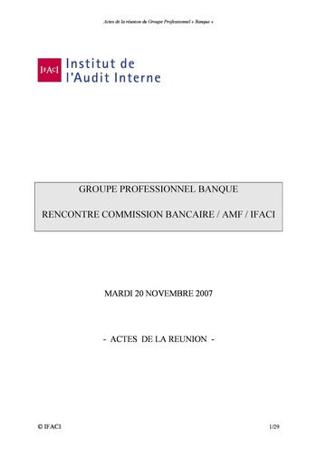 Commission Bancaire IFACI / AMF 2007 - Actes page 1