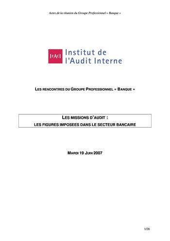 Les missions d'audit : les figures imposées dans le secteur bancaire page 1