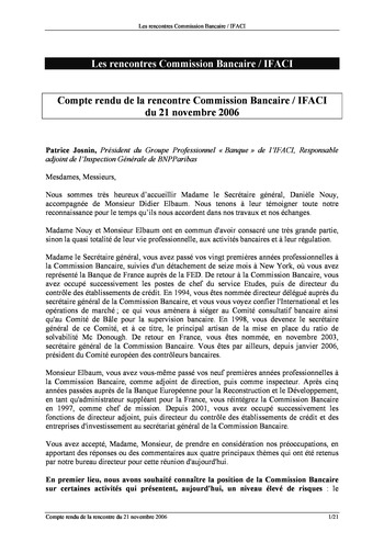 Commission Bancaire IFACI 2006 - Actes page 1