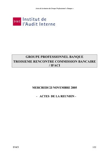 Commission Bancaire IFACI 2005 - Actes page 1