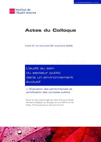 L'audit au sein du secteur public dans un environnement évolutif page 1