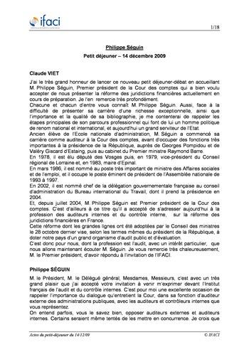Petit-déjeuner - Invité Philippe Séguin page 1