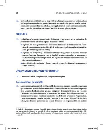 Synthèse - Référentiel intégré de contrôle interne page 12