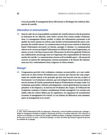 Synthèse - Référentiel intégré de contrôle interne page 14