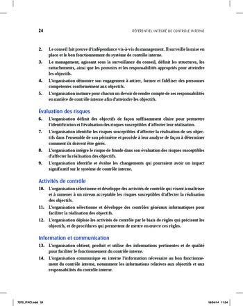 Synthèse - Référentiel intégré de contrôle interne page 16