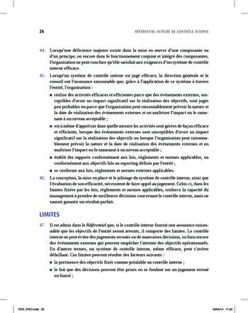Synthèse - Référentiel intégré de contrôle interne page 18