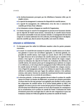 Synthèse - Référentiel intégré de contrôle interne page 19
