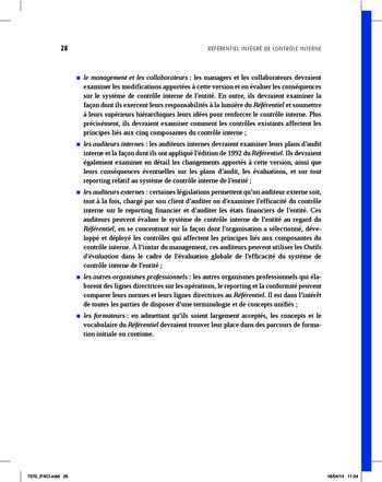 Synthèse - Référentiel intégré de contrôle interne page 20