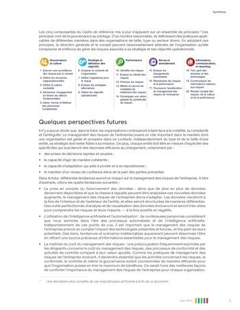Synthèse - Le management des risques de l'entreprise - Une démarche intégrée à la stratégie et à la performance page 11