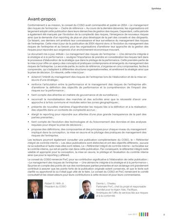 Synthèse - Le management des risques de l'entreprise - Une démarche intégrée à la stratégie et à la performance page 3
