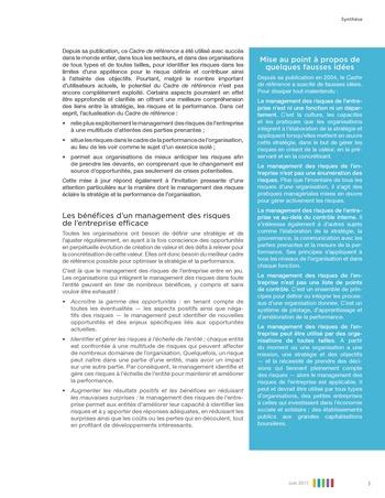 Synthèse - Le management des risques de l'entreprise - Une démarche intégrée à la stratégie et à la performance page 7
