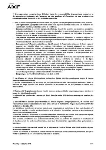 Cadre de référence des dispositifs de gestion des risques et de contrôle interne page 10