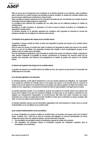 Cadre de référence des dispositifs de gestion des risques et de contrôle interne page 11