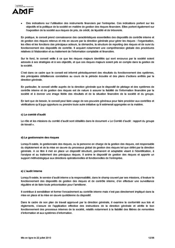Cadre de référence des dispositifs de gestion des risques et de contrôle interne page 12