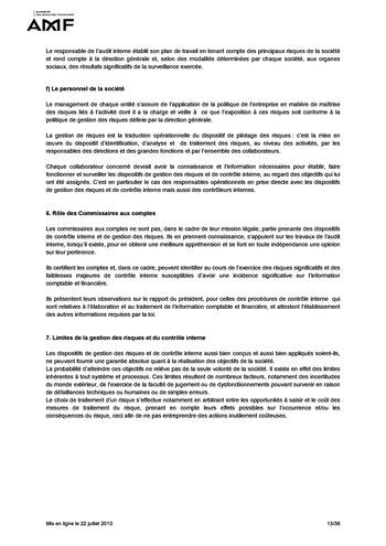 Cadre de référence des dispositifs de gestion des risques et de contrôle interne page 13