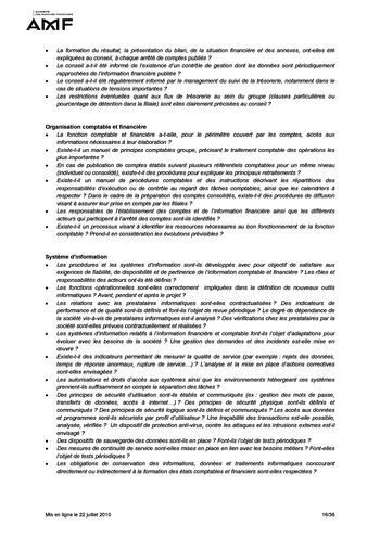 Cadre de référence des dispositifs de gestion des risques et de contrôle interne page 16