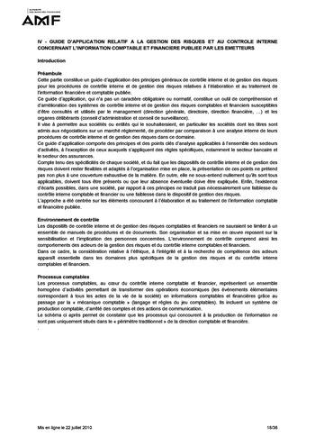 Cadre de référence des dispositifs de gestion des risques et de contrôle interne page 18