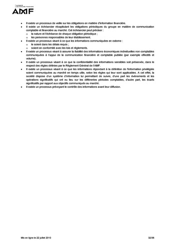 Cadre de référence des dispositifs de gestion des risques et de contrôle interne page 32