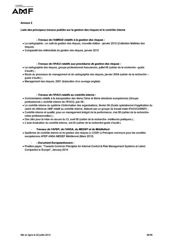 Cadre de référence des dispositifs de gestion des risques et de contrôle interne page 36