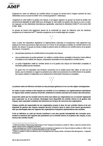 Cadre de référence des dispositifs de gestion des risques et de contrôle interne page 5
