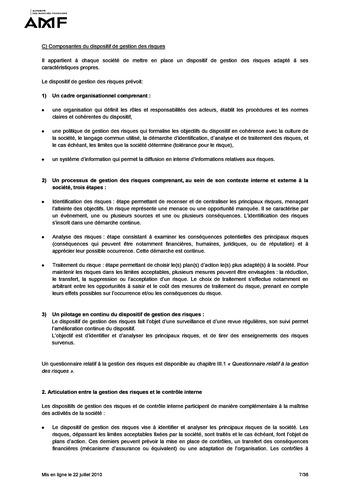 Cadre de référence des dispositifs de gestion des risques et de contrôle interne page 7
