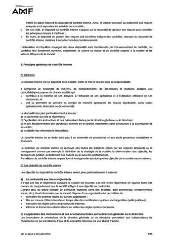 Cadre de référence des dispositifs de gestion des risques et de contrôle interne page 8