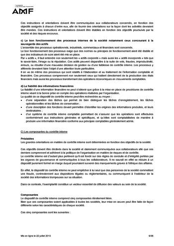 Cadre de référence des dispositifs de gestion des risques et de contrôle interne page 9