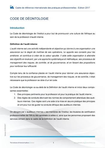 Code de déontologie page 1