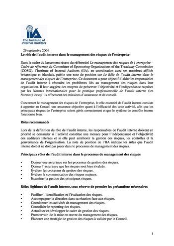 Prise de position - Le rôle de l'audit interne dans le management des risques de l'entreprise /IIA page 1
