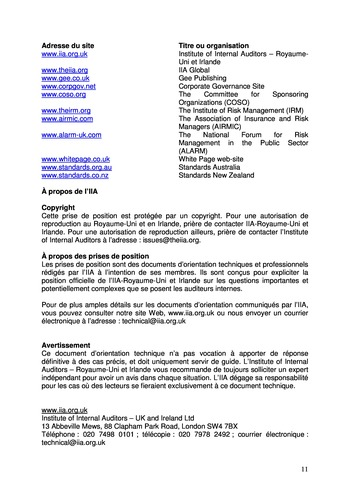 Prise de position - Le rôle de l'audit interne dans le management des risques de l'entreprise /IIA page 11