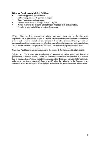 Prise de position - Le rôle de l'audit interne dans le management des risques de l'entreprise /IIA page 2