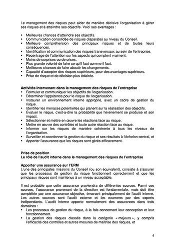 Prise de position - Le rôle de l'audit interne dans le management des risques de l'entreprise /IIA page 4