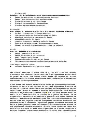 Prise de position - Le rôle de l'audit interne dans le management des risques de l'entreprise /IIA page 6