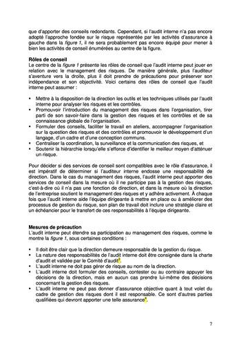 Prise de position - Le rôle de l'audit interne dans le management des risques de l'entreprise /IIA page 7