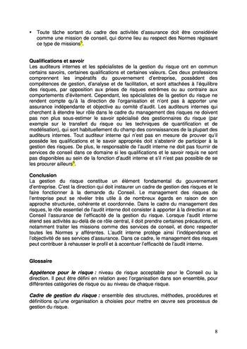 Prise de position - Le rôle de l'audit interne dans le management des risques de l'entreprise /IIA page 8