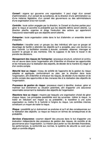Prise de position - Le rôle de l'audit interne dans le management des risques de l'entreprise /IIA page 9