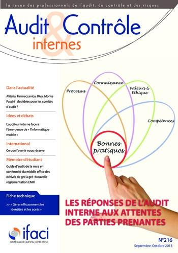 N°216 - sept 2013 Le rôle de l'audit interne dans la prise de décision page 1